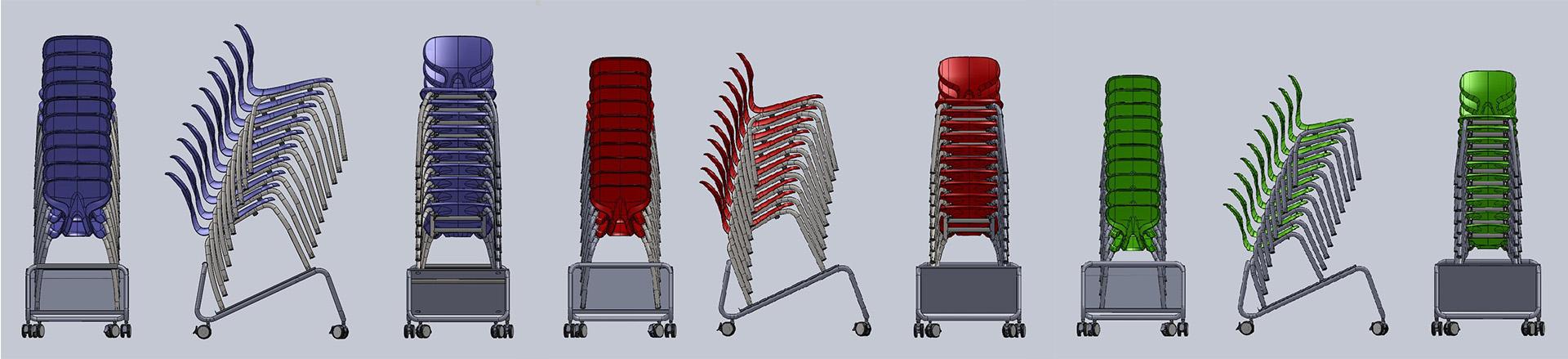 3D CAD maatbepaling met diverse soorten en maten frames uit de stoelenserie